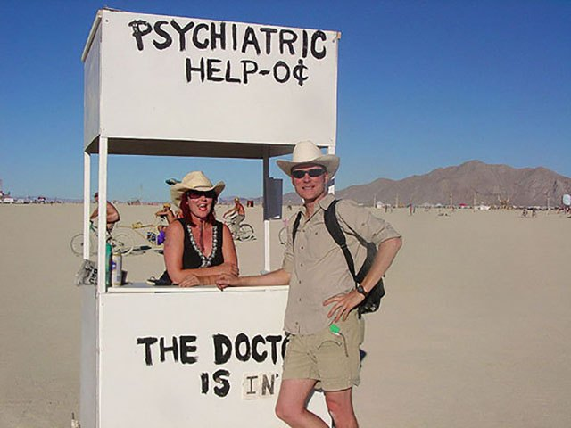 My art project at Burning Man 2005 was a Psychiatric Help booth (in homage to Lucy's booth from the Peanuts comic strips) out in the desert. It was mentioned in the Economist magazine's write up of Burning Man in September 2005.
