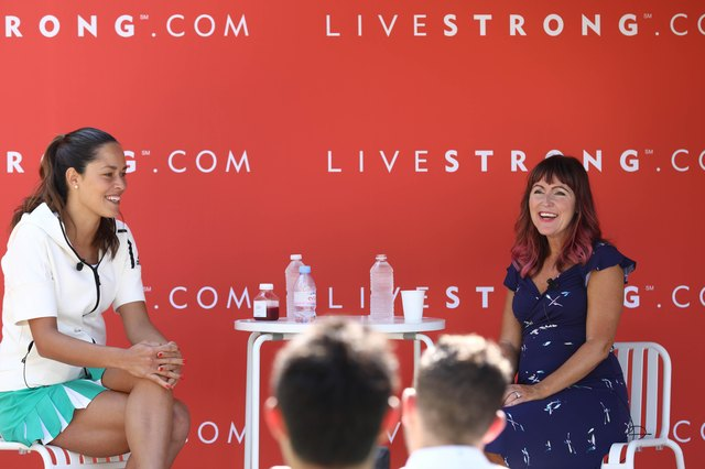Ana Ivanovic and LIVESTRONG VP and GM Jess Barron speak in a fireside chat in Cannes, France.