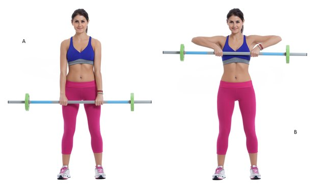 Perform barbell upright rows with a resistance band.