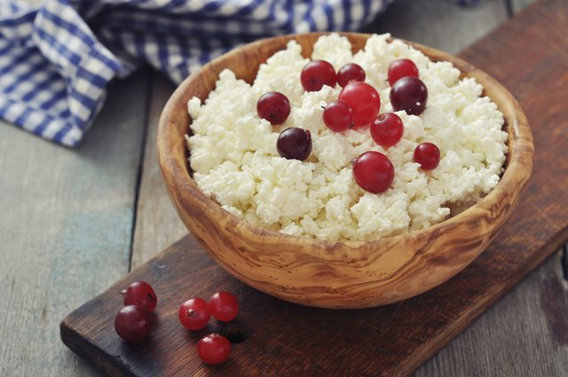fresh cottage cheese with cherries