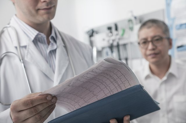 Doctor checking medical chart with patient