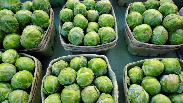Brussels sprouts for sale at farmer's market