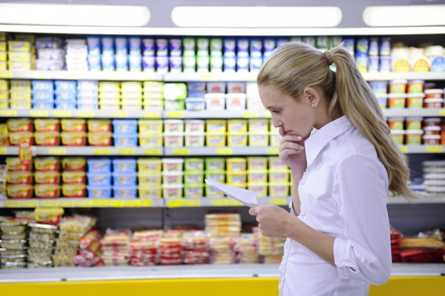 Woman looking at grocery list
