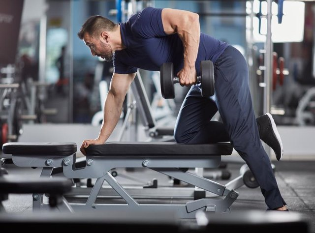 Rows can also be performed in a bent-over position, using dumbbells.