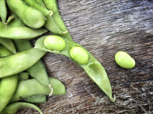 Raw soybeans should be bright green and firm.