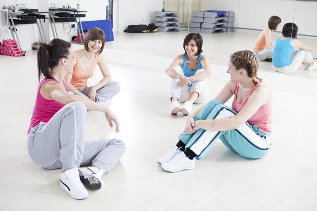 Women talking after fitness class