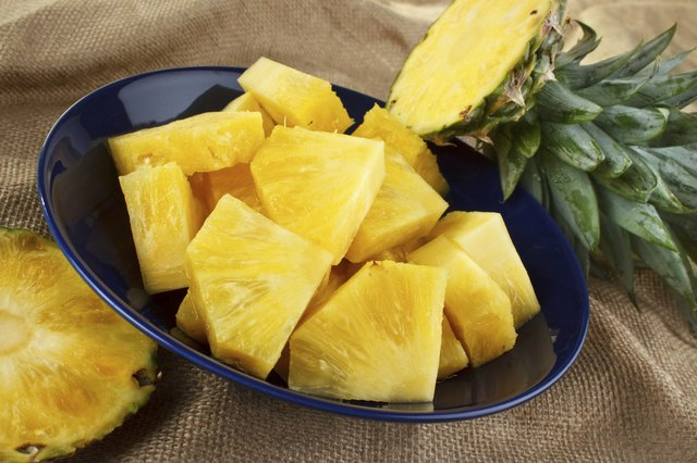 Chunks of fresh pineapple in a bowl