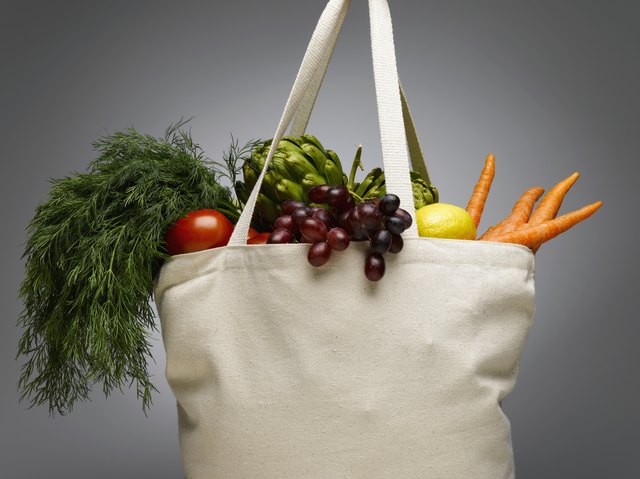 Bag with fresh produce in it.