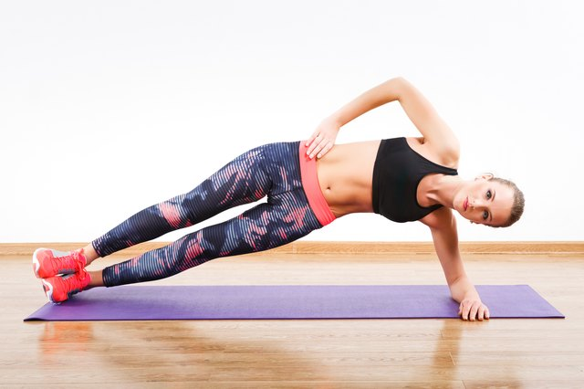 Side planks challenge the muscles on the side of your abdomen.