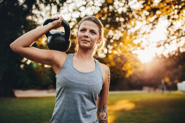 Strengthening exercises can be performed with dumbbells, kettlebells or elastic bands.
