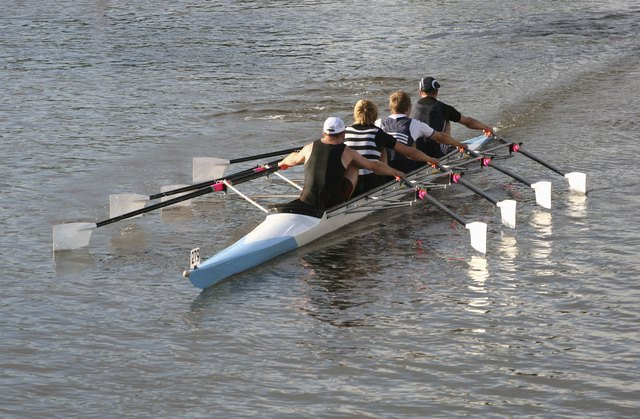 Rowing can be at the gym or in a boat.