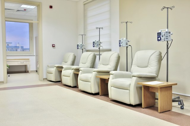 Chemotherapy chairs set up in hospital.