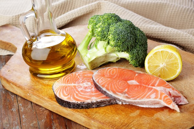 Olive oil and fish are both good sources of healthy fats.