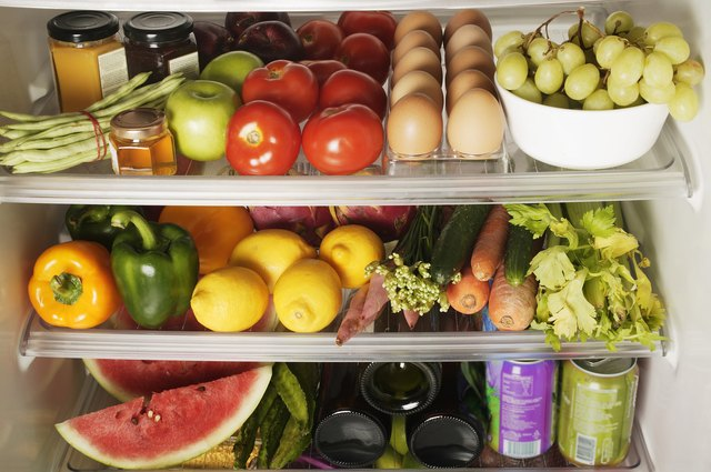 Refrigerator filled with healthy food.