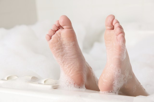 Epsom Salt can be used in a bath to help treat sore muscles.