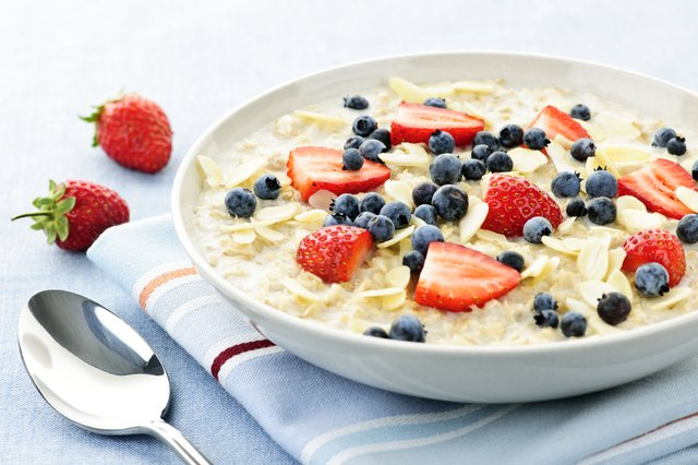 Oatmeal with fresh fruit for breakfast.