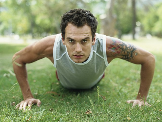 Push-ups work chest and back.