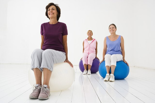 Bouncing on a stability ball is accessible to all levels.