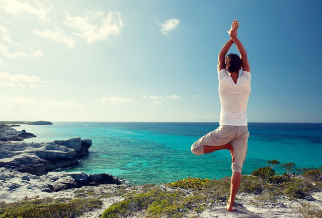 Make sure your hips stay centered to target the gluteus medius in tree pose.