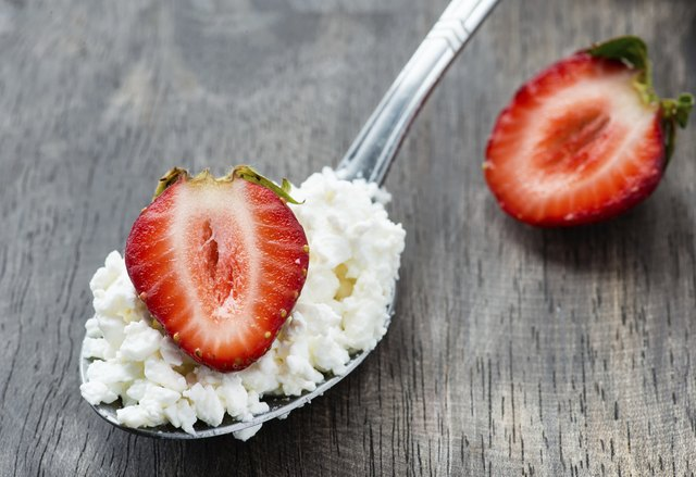 Cottage cheese and fruit.