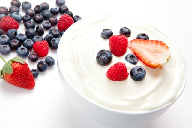 Yogurt and fruit.