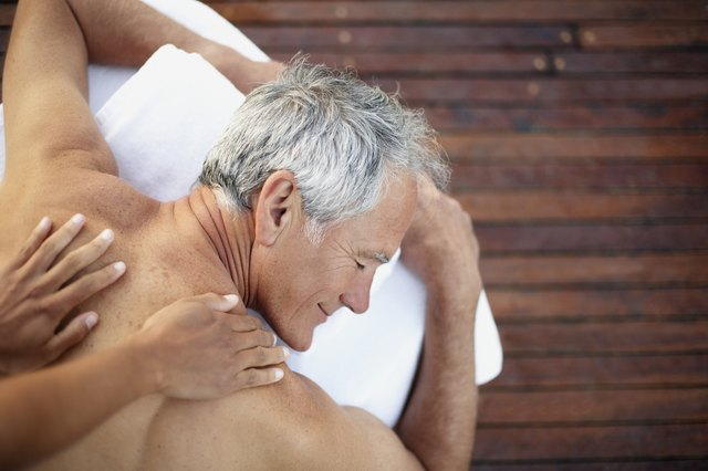 Man getting massage at spa