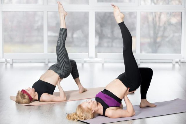 Add challenge by lifting one leg in bridge pose.