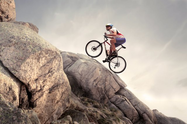 Mountain biker on a difficult course
