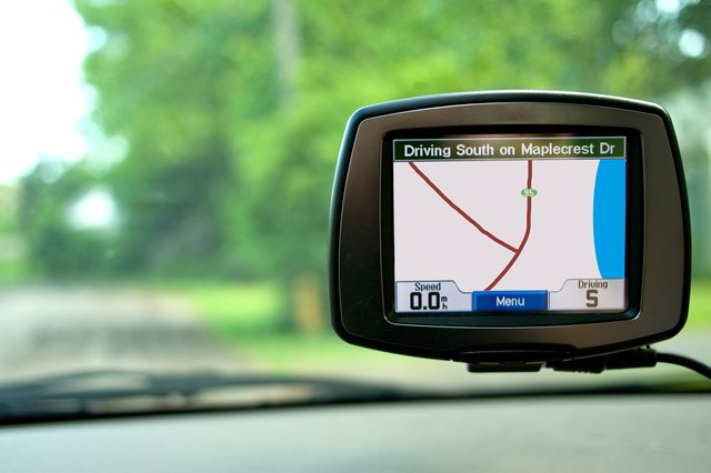 GPS mounted on car's windshield
