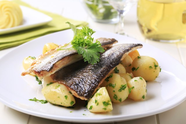 Pan fried trout with potatoes and herbs