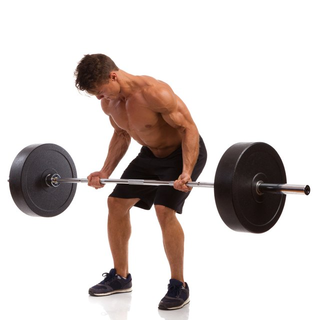 The barbell deadlift is primarily a back exercise but also stresses the hip muscles.