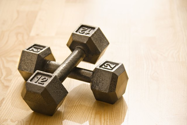Use a set of barbells to do upright rows.