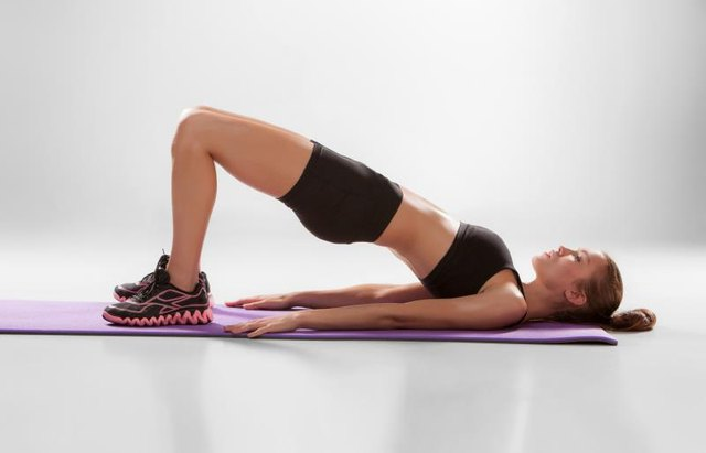 Keep your shoulders relaxed during the bridge.