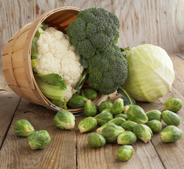 Broccoli, cabbage,cauliflower and Brussel sprouts in basket