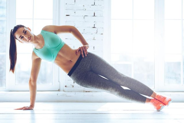 Full side plank has you balanced on both feet.