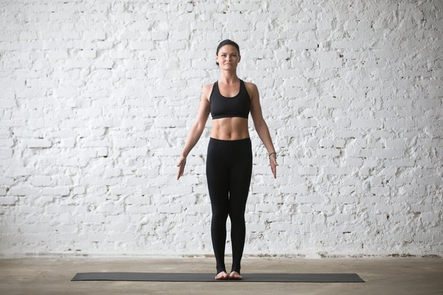 Combining Mountain pose with Kegel exercises strengthens your pelvic floor muscles.