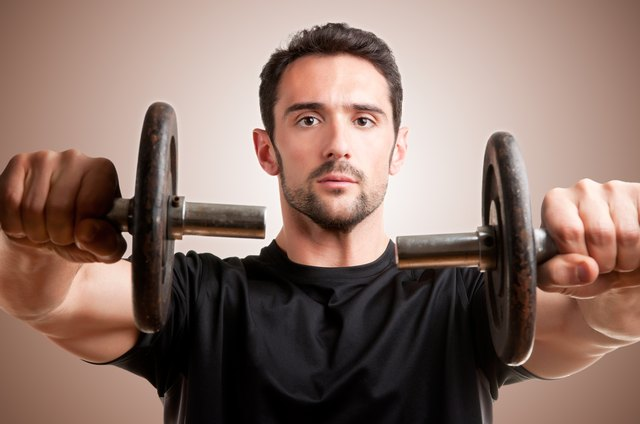 Dumbbells make each shoulder work independently.