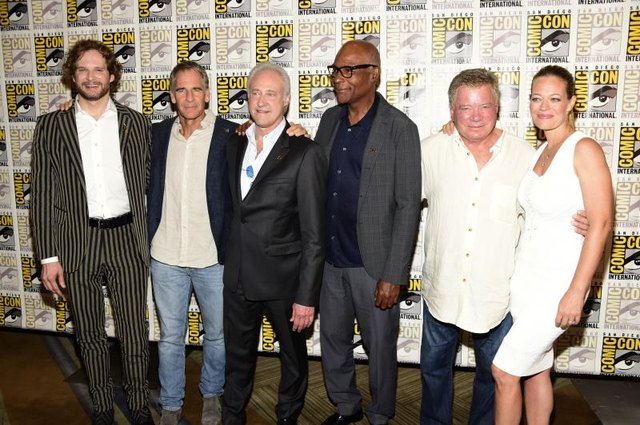 Actors Bryan Fuller, Scott Bakula, Brent Spiner, Michael Dorn, William Shatner and Jeri Ryan attend the Star Trek 50 celebration at San Diego Comic-Con.