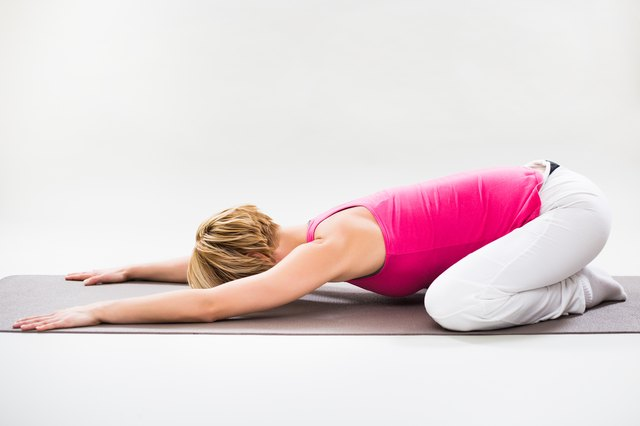 Child's pose stretches the erector spinae muscles in the lumbar spine.