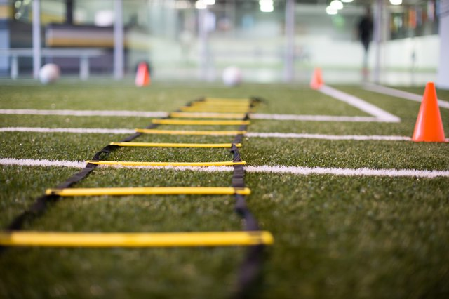 The speed ladder helps players develop foot speed.