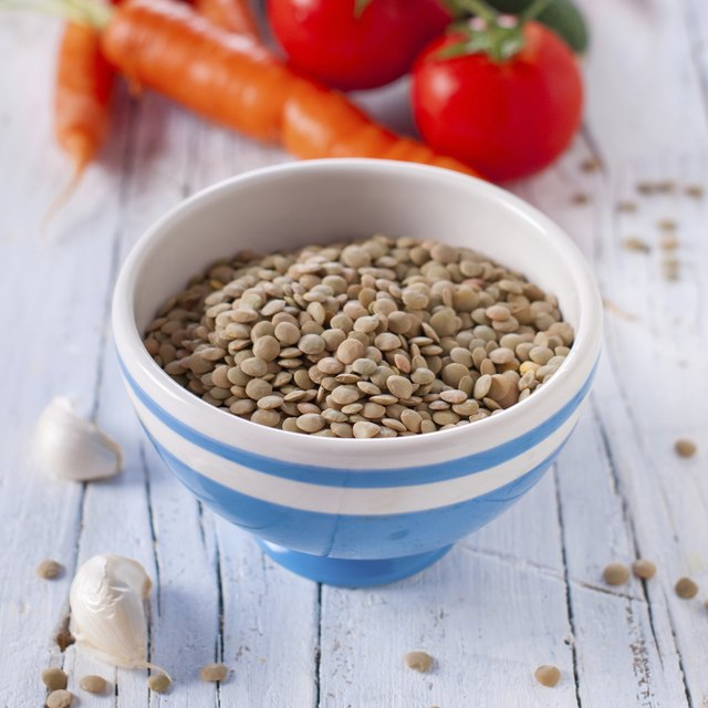 Bowl of dried lentils