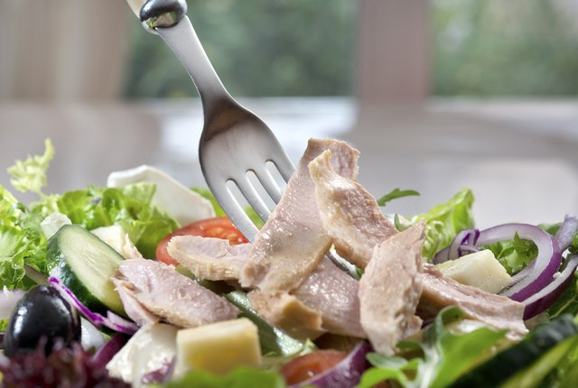 Tuna salad is a great source of protein that can be made healthy by lowering the amount of mayo used.