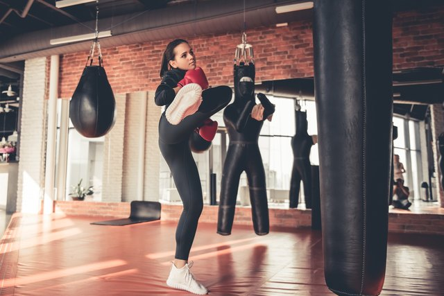 An hour of kickboxing burns at least 350 calories.