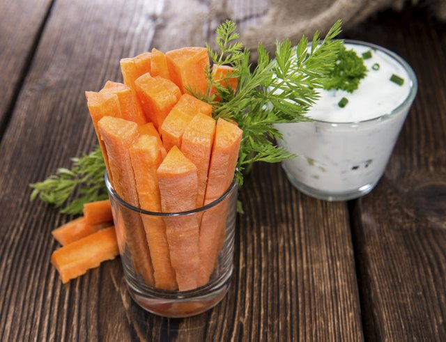 snack of carrot sticks and dip