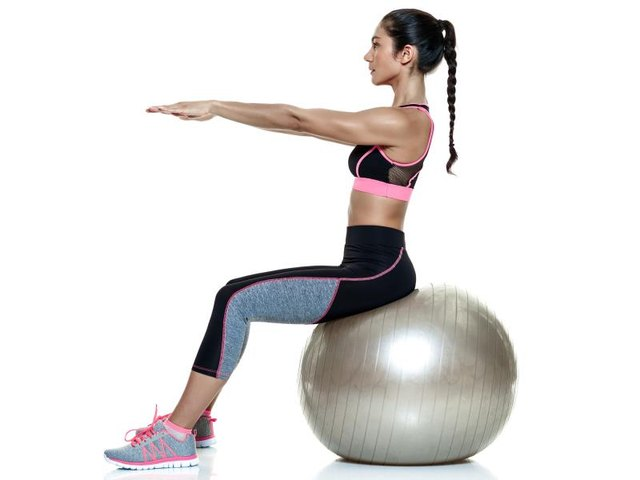 Using a stability ball strengthens the core muscles while decreasing the sensation of prolapse.