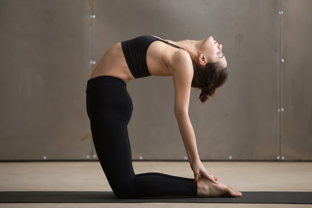 The Camel pose improves flexibility in your lower back.