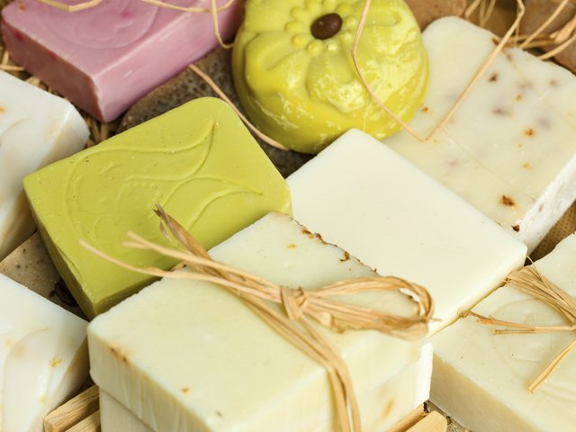 An assortment of homemade organic soaps.