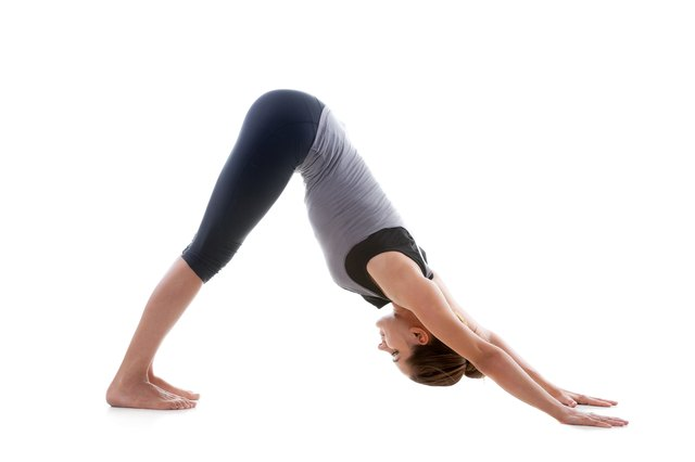 Downward facing dog is the starting position for a dive-bomber push-up.