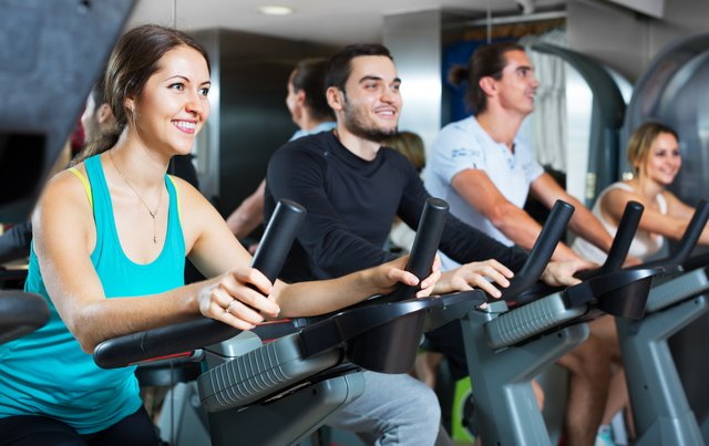 Pedaling an exercise bike is easy on your joints.