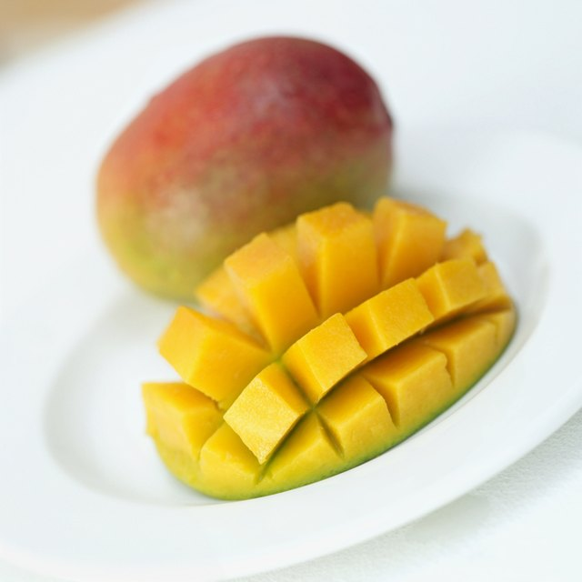 Cut up mango.